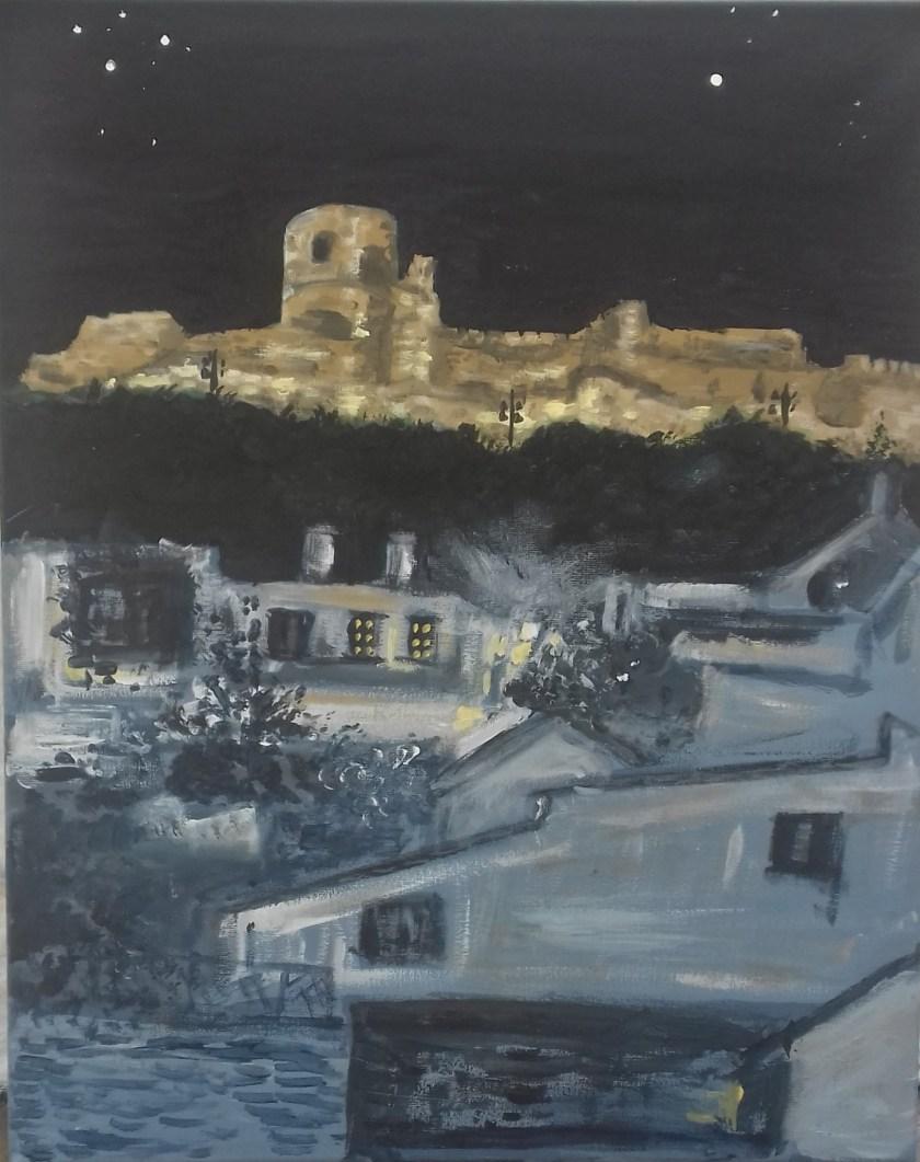 Jimena castle by night